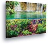 Waterfall Sea Jungle Nature Canvas Print 80cm x 60cm