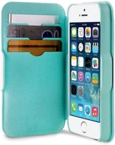 Apple iPhone SE / 5S / 5 Hoes – Wit & Aqua Blauw,