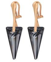 ARLIZI 1241 Oorclips Swarovski Kristal Spike - Dames - 925 Zilver Roséverguld - 4,5 cm - Zwart