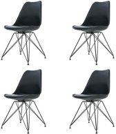 Essence Metal kuipstoel - Zwarte zitting - Zwart onderstel - Set van 4