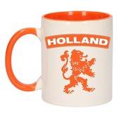 1x Holland oranje leeuw beker / mok - oranje met wit - 300 ml keramiek - oranje bekers