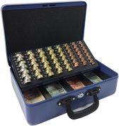 ACROPAQ AGE358B - Metalen Geldkist 358x273x110mm - 2 handvaten - Muntsorteerder - Cilinderslot met 2 sleutels - Blauw