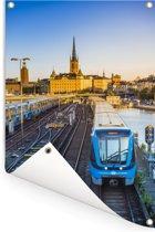 Uitzicht op een spoorweg Tuinposter 120x180 cm - Tuindoek / Buitencanvas / Schilderijen voor buiten (tuin decoratie) XXL / Groot formaat!