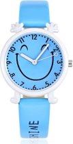 HappyFace -kids horloge - licht blauw - 28 mm - I-deLuxe verpakking