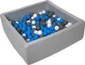 Ballenbak - stevige ballenbad - 90x90 cm - 300 ballen Ø 7 cm - wit, blauw, grijs.