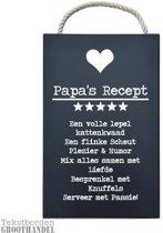 S163 Papa's Recept Black steigerhouten tekstbord.
