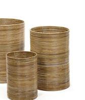 Maison Péderrey Riet mand-Cylinder mand-Ringen mand Riet-Bamboe  Bruin-Beige-naturel-Grijs D 40 cm H 50 cm  (Mand rechts achter op foto)
