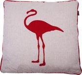 In The Mood Melange Flamingo - Sierkussen - 50x50 cm - Rood