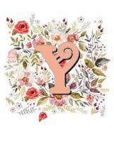 Y Monogram Letter Floral Wreath Notebook