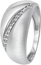 Lucardi - Zilveren ring rhodiumplated mat/glans zirkonia