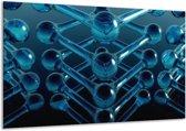 Glasschilderij Abstract   Blauw, Zwart, Wit   120x70cm 1Luik   Foto print op Glas    F000261