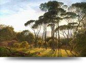 Italiaans landschap met parasoldennen van Hendrik Voogd - canvas