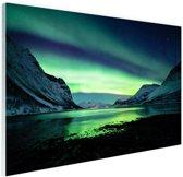 Ongelooflijke noorderlicht in Noorwegen Glas 120x80 cm - Foto print op Glas (Plexiglas wanddecoratie)