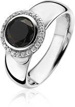 ZINZI zilveren ring rond zwart ZIR1244Z
