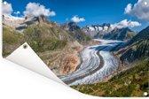 De Aletschgletsjer bij de Zwitserse Alpen Tuinposter 60x40 cm - klein - Tuindoek / Buitencanvas / Schilderijen voor buiten (tuin decoratie)