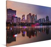 Zonsondergang in de Chinese stad Nanning Canvas 140x90 cm - Foto print op Canvas schilderij (Wanddecoratie woonkamer / slaapkamer) / Aziatische steden Canvas Schilderijen