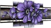Schilderij handgeschilderd Bloemen | Paars , Grijs | 150x70cm 5Luik