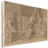 De geboorte  - Schilderij van Andrea del Sarto Vurenhout met planken 30x20 cm - klein - Foto print op Hout (Wanddecoratie)