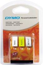 DYMO S0721790 labelprinter-tape Zwart op wit + zwart op geel + zwart op metallic