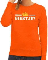 Oranje Biertje met kroontje sweater dames XS