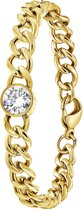 Lucardi - Colours by Kate - Stalen armband goldplated met wit zirkonia