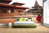 Fotobehang vinyl - Durbar plein Kathmandu breedte 380 cm x hoogte 265 cm - Foto print op behang (in 7 formaten beschikbaar)