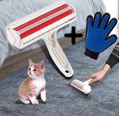 Dierenharen borstel met ontharings handschoen - Huisdierhaar verwijderaar – Ontharingsborstel – Pluizen borstel - Hondenhaar & Kattenhaar -  dierenborstel – haarroller - haarvanger