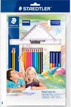 kleurset met tekendriehoek en meetlat