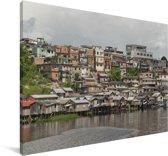 Een traditionele wijk in het Zuid-Amerikaanse Manaus in Brazilië Canvas 90x60 cm - Foto print op Canvas schilderij (Wanddecoratie woonkamer / slaapkamer)