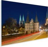 Drukke straten in het centrum van het Duitse Lübeck Plexiglas 60x40 cm - Foto print op Glas (Plexiglas wanddecoratie)