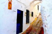 Straatje in Spanje, Andalusië, Malaga, Comares   abstact, modern, sfeer, stad   Foto schilderij print op Glas (plexiglas wanddecoratie)   60x40cm