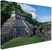 Piramide van Palenque Mexico  Canvas 180x120 cm - Foto print op Canvas schilderij (Wanddecoratie woonkamer / slaapkamer) XXL / Groot formaat!