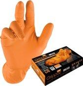 Grippaz 2-zijdige draagbare nitril wegwerp handschoenen type 246 - extra sterk - oranje - vishuidstructuur - maat L/9 - doosje à 50 stuks