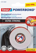 Tesa montagetape Powerbond Ultra Strong formaat 1,5 m x 19 mm blisterverpakking