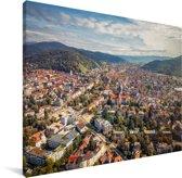 Uitzicht over de Duitse stad Freiburg Canvas 160x120 cm - Foto print op Canvas schilderij (Wanddecoratie woonkamer / slaapkamer) / Europese steden Canvas Schilderijen XXL / Groot formaat!