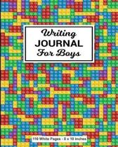 Writing Journal for Boys 110 White Pages 8x10 inches