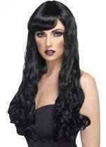 Lange zwarte pruik met golvend haar