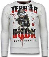 Local Fanatic Terror Duck - Rhinestone Sweater - Wit - Maten: XXL