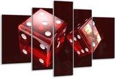 Glasschilderij Spel | Rood, Wit, Bruin | 170x100cm 5Luik | Foto print op Glas |  F004291