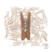 Mini Wasknijpers Hout – 2,5 cm – Foto wasknijpers – Kaart Wasknijpers - Set van 100 stuks