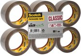 Scotch Verpakkingstape, Klassiek -Flatpack/6 rollen, Bruin, 50 mm x 66 m