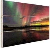 FotoCadeau.nl - Noorderlicht in IJsland Hout 120x80 cm - Foto print op Hout (Wanddecoratie)