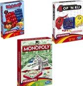 Reisspellen - Vier op een rij - Monopoly - 4 op een rij - Wie is het