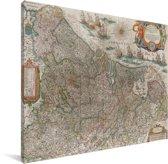 Landkaart van Nederland Canvas 160x120 cm - Foto print op Canvas schilderij (Wanddecoratie woonkamer / slaapkamer) XXL / Groot formaat!