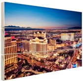 Nachtverlichting Las Vegas Hout 80x60 cm - Foto print op Hout (Wanddecoratie)