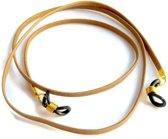 Brillenkoord - plat nappaleer - 3 mm - lichtbruin - effen - goudkleurige bevestiging
