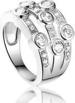 Montebello Ring Togo - Dames - Zilver Gerhodineerd - Zirkonia - 14 mm - Maat 52 - 16.5