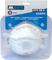 M-Safe 6340 FFP3 NR D stofmasker met uitademventiel blisterverpakking à 2 stuks