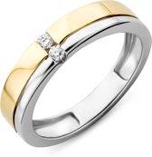 Majestine Solitair Ring 14 Karaat Bicolor Geel/Witgoud (585) met Diamant 0.06ct maat 58