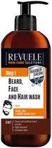 Revuele Barber Salon Beard, Face and Hair Wash 3 in 1 300ml. STEP 1